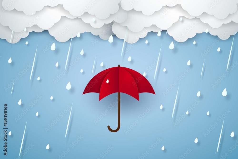 Fototapeta Umbrella with heavy rain , rainy season , paper art style
