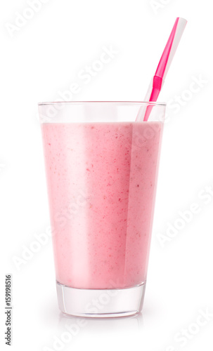 Photo sur Toile Lait, Milk-shake strawberry smoothie in glass