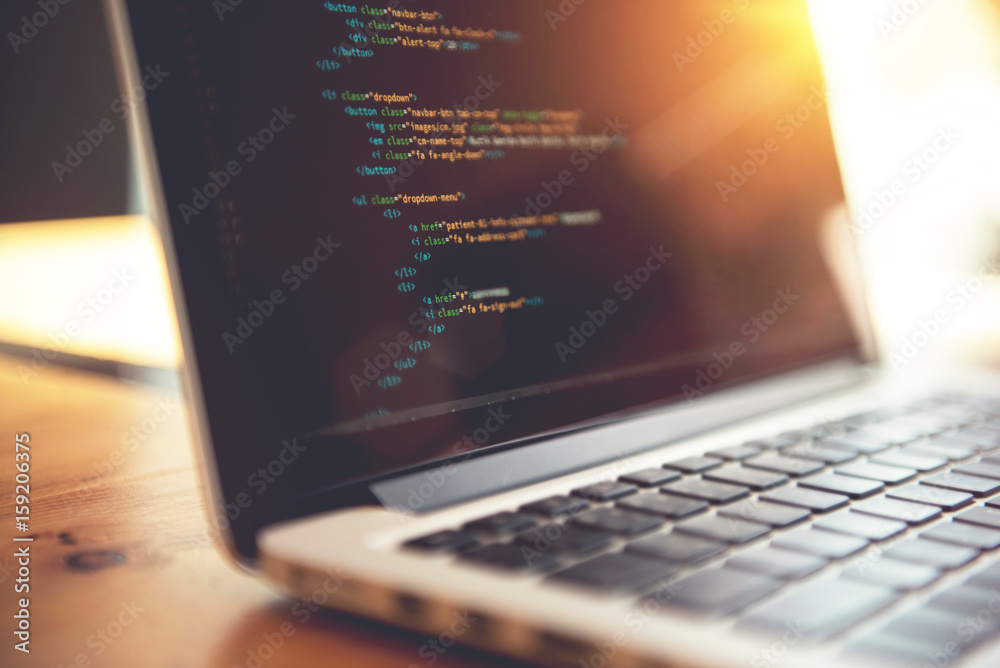 Fototapety, obrazy: Closeup coding html and programming on screen laptop, development web, developer.