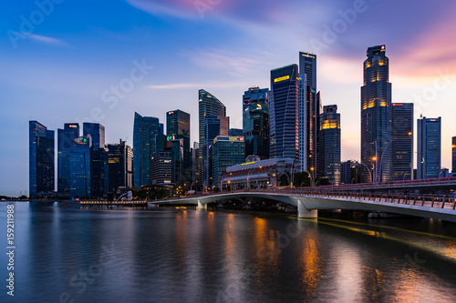 Singapore skyline and illuminated financial district night view, Downtown Urban Canvas Print