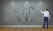 Businessman drawing innovation sketch on a wall 3D rendering