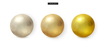 Set Of 3d Realistic Metal Ball...