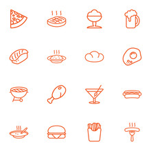 Set Of 16 Eat Outline Icons Se...