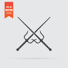 Sai Weapon Icon In Flat Style Isolated On Grey Background.
