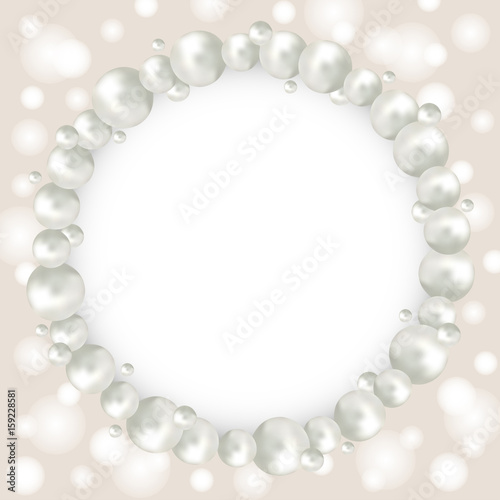 Pearl Beads Round Frame On Beige Bokeh Background Wedding Invitation White Pearls Background Realistic Vector Illustration Stock Vector Adobe Stock
