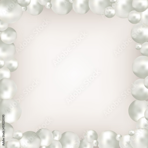 Pearl Beads Frame On Beige Background Jewellery Bracelet Necklace Wedding Invitation White Pearls Background Vector Illustration Clipping Mask Used Easy Editable Stock Vector Adobe Stock