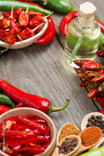 chili pepper, Various spices frame, room for text