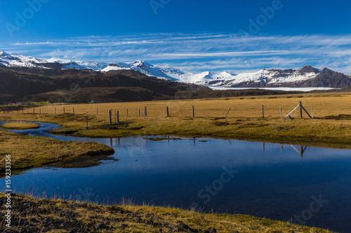 Aluminium Prints New Zealand Picteresque view of Vatnajökull National Park and Hvannadalshnúkur peak, South Iceland