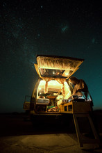 Old Campervan Under The Night Sky