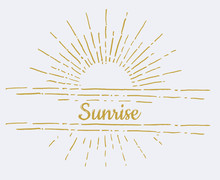 Linear Drawing Of Sunrise. Vintage Style Of The Image. Hipster Style. Light Rays Of Burst. Handdrawn Vector Illustration