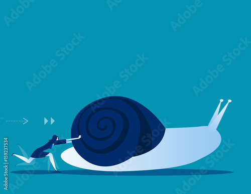 Photo Businesswoman pushing snail