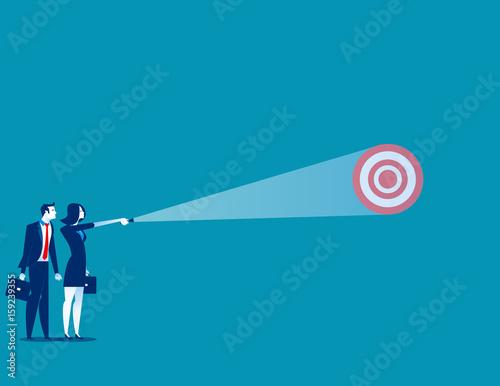 Cuadros en Lienzo Businesswoman shining light on target. Concept business vector.