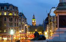 London Trafalgar Square Lion And Big Ben Tower At Background, London, UK