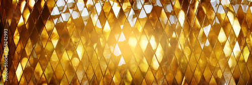 Obraz na plátně Shining golden mosaic glass background