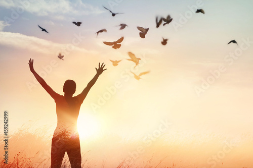Photographie Woman praying and free bird enjoying nature on sunset background, hope concept