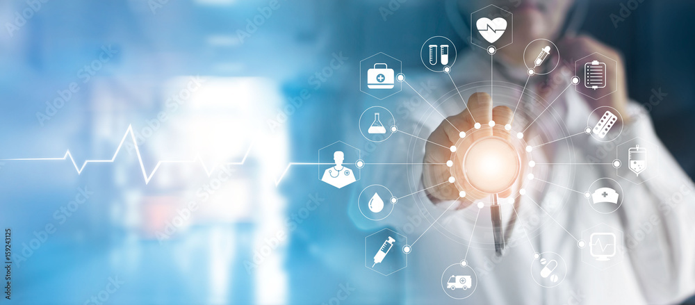 Fototapety, obrazy: Medicine doctor and stethoscope in hand touching icon medical network connection   with modern virtual screen interface, medical technology network concept