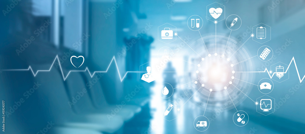 Fototapeta Medical icon network connection with modern virtual screen interface on hospital background, medicine technology network concept