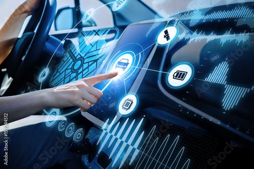 Obraz na płótnie futuristic vehicle and graphical user interface(GUI)