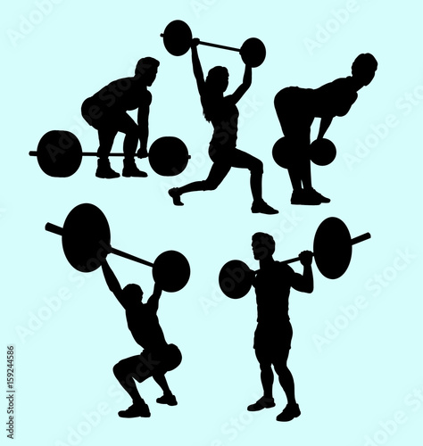 heavy lifting and fitness male and female silhouette  Good