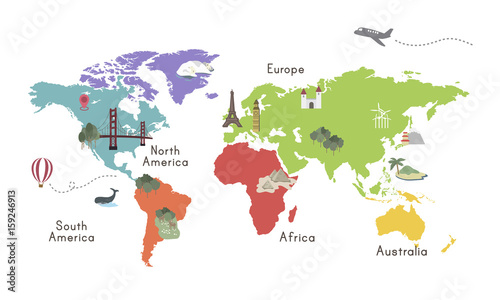 Fotografie, Tablou  World Continent Map Location Graphic Illustration