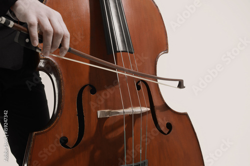 Canvas Prints Music Double bass player Hands playing contrabass