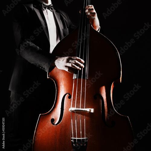 Türaufkleber Musik Double bass player playing contrabass