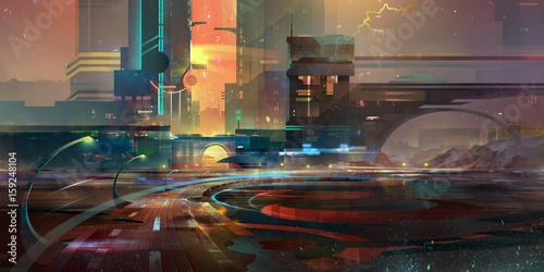 drawn dark fantasy the city of the future - 159248104