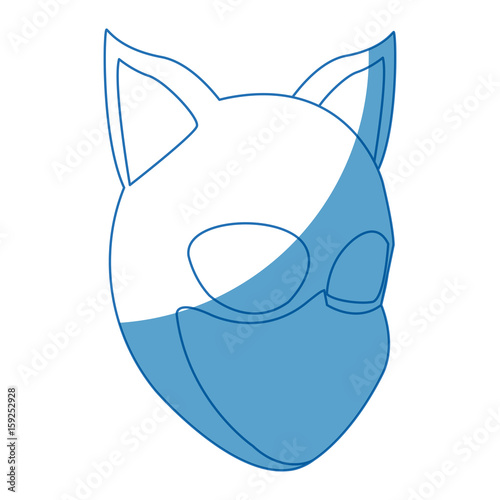 Cuadros en Lienzo woman in cat costume with mask ears halloween party vector illustration