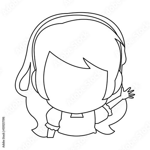manga anime girl chibi character contour vector illustration Canvas Print