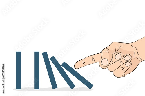 Fototapeta Domino effect. Hand pushing the domino. Vector illustration. obraz na płótnie