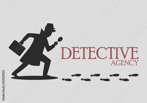 Silhouette of detective agency Wallpaper Mural