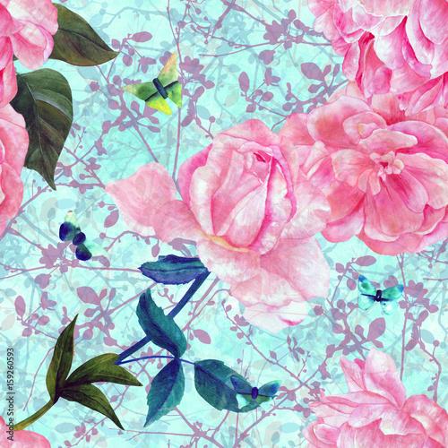 turkusowy-wzor-z-akwarela-roz-i-motyli
