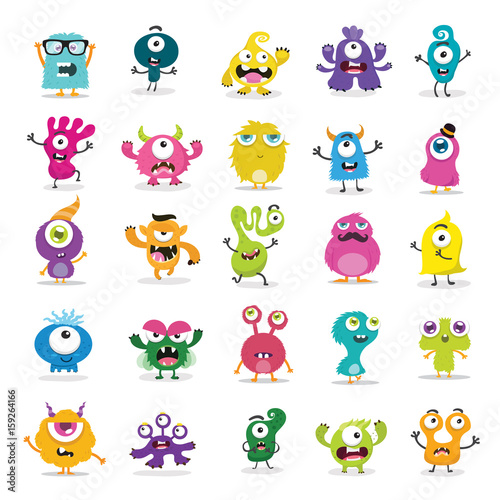 Canvastavla Cute Monster Set