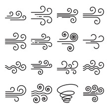 Wind Icons. Black Line Symbols Isolated On A White Background. Editable Stroke. Vector Illustration