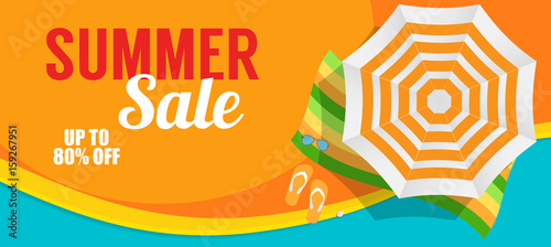 Valokuvatapetti Summer Sale Banner Template for your Business. Vector Illustrati