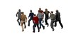Small group of men running - isolated on white background - 3d illustration