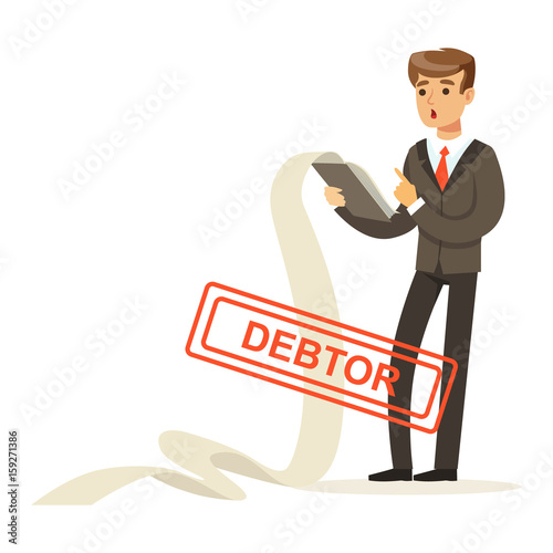 Cuadros en Lienzo Businessman stressed out by long list of debts, debtor vector Illustration