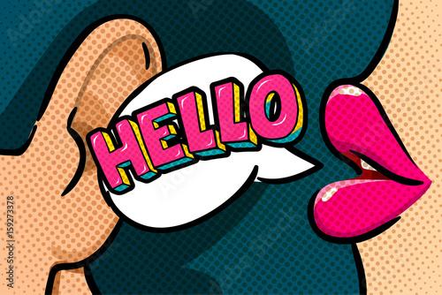 Zdjęcie XXL Cześć wiadomość w stylu pop-art