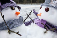 Two Cute Snowmen Close Up Dres...