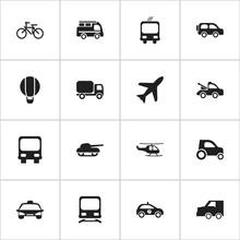 Set Of 16 Editable Transportat...