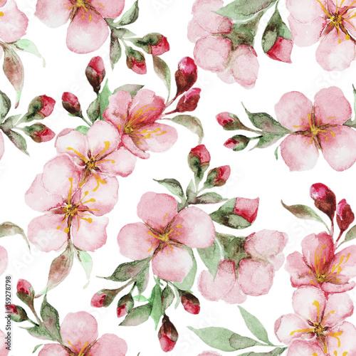 Cotton fabric pattern of watercolor sakura flowers