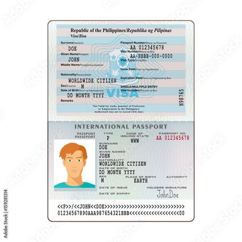 Vector international open passport with Philippines visa