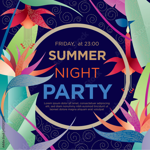 Summer night party. Vector template for a banner, posters, invitations. Can be used for advertising, party invitations, sales. Exotic, tropical flowers with frame for text.