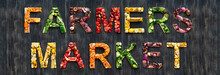 Farmers Market In Multi Color Fruits And Vegetables