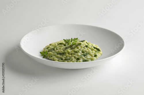 Bowl of risotto with asparagus