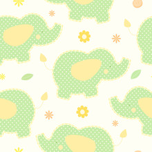Cute Green Elephant Seamless Vector Background