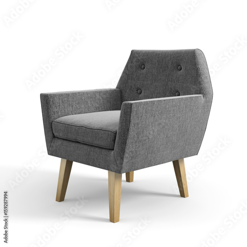 Armchair isolated on white background 3D rendering Fototapete