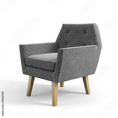 Fotografie, Obraz  Armchair isolated on white background 3D rendering