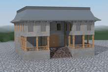 Two Storey Building With Loggia And Wooden Pillars On Both Sides Of The Closed Door, Surrounded With Setts, Green Hills In The Distance. 3d Render.