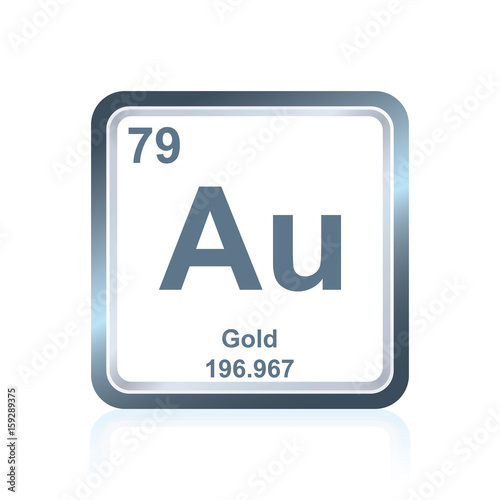 Chemical element gold from the Periodic Table Canvas Print